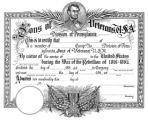 Sons of Veterans certificate, undated
