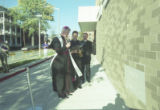 Bishop Timlin blesses Brennan Hall at its dedication, 2000