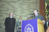 Mayor Connors speaks at dedication of Brennan Hall, 2000