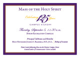 125th Anniversary Mass of the Holy Spirit dining card, 2013