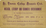 St. Thomas College Dramatic Club advertisement, 1896